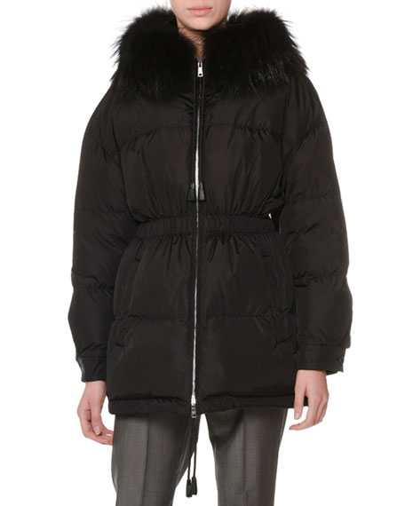Zip-Front Drawstring Quilted Puffer Coat W/ Fur Collar in Black
