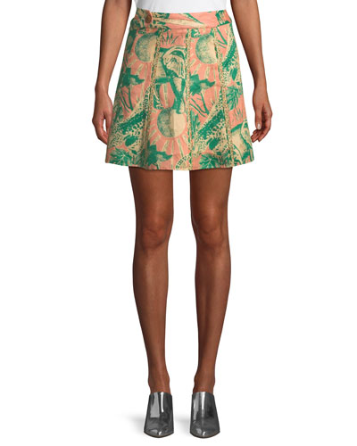 Desta Animal-Print Linen Mini Skirt