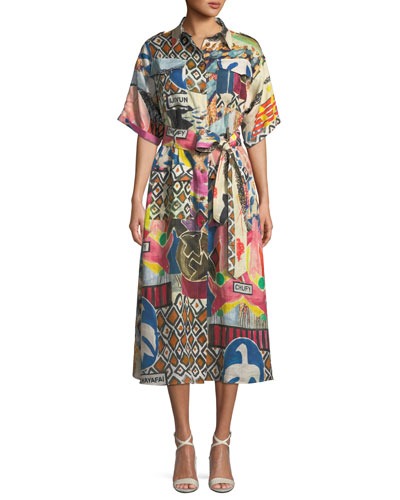 Wild-Print Short-Sleeve Button-Front Linen Safari Dress