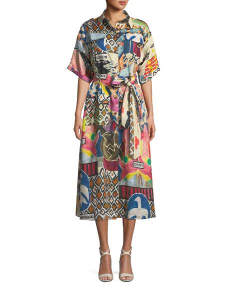 CHUFY WILD-PRINT SHORT-SLEEVE BUTTON-FRONT LINEN SAFARI DRESS