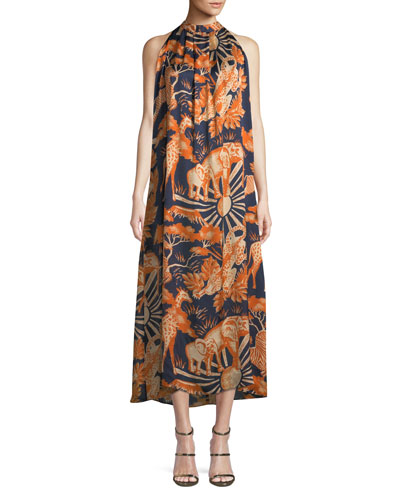 Sleeveless Halter Animal-Print Silk Long Dress