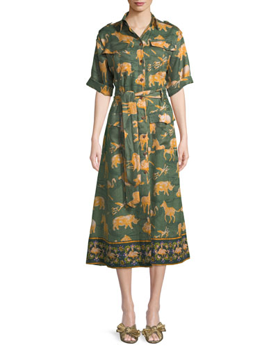 Short-Sleeve Button-Front Animal-Print Linen Safari Dress