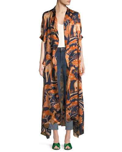 Short-Sleeve Animal-Print Long Silk Kimono Robe