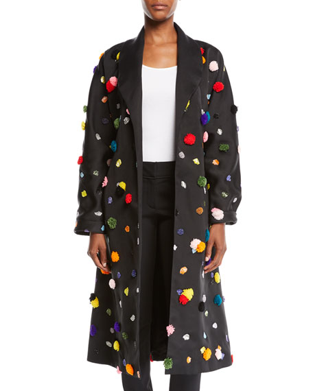 OSMAN LONDON MULTICOLOR APPLIQUÉ SATIN MID-LENGTH WRAP COAT