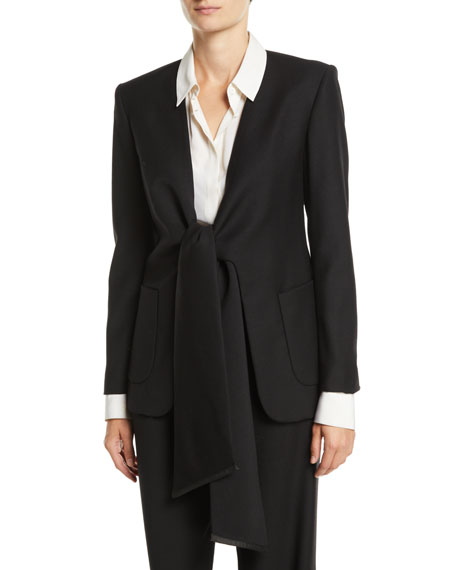OSMAN LONDON Tie-Front Long-Sleeve Heavy Wool Tuxedo Jacket in Black
