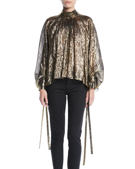 OSMAN LONDON Mock-Neck Pouf-Sleeve Tie-Cuff Lightweight Metallic Tulle Blouse in Gold