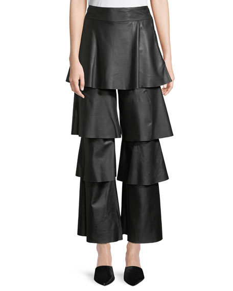 OSMAN LONDON Felix Tiered Ruffle Lamb Leather Pants in Black
