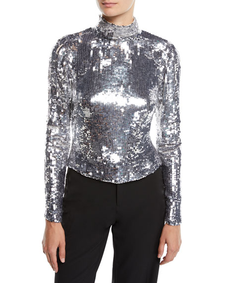 OSMAN LONDON Amos Long-Sleeve Sequin Ribbon Tieback Turtleneck Top in Silver