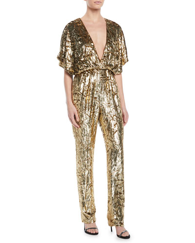 Short-Sleeve Plunging Crinkled Velvet Straight-Leg Jumpsuit