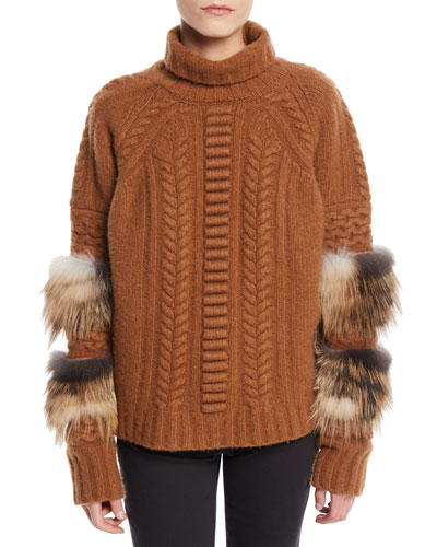 Turtleneck Long-Sleeve Cable-Knit Wool-Cashmere Sweater w/ Fox Fur