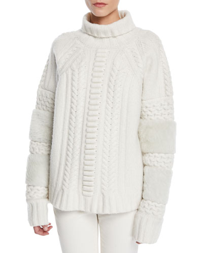 Turtleneck Wool-Cashmere Cable-Knit Sweater w/ Shearling
