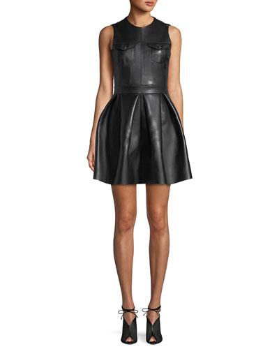 Lamb Leather Fit-and-Flare Pleated Mini Dress