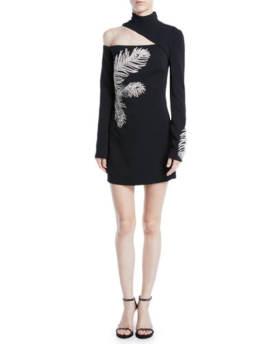 Mock-Neck Cutout-Shoulder Long-Sleeve Crepe Mini Dress w/ Embellished Feather