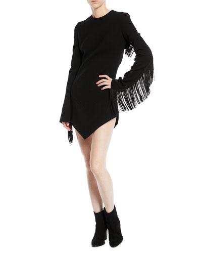 Crewneck Fringe-Detail Fitted Open-Back Mini Dress