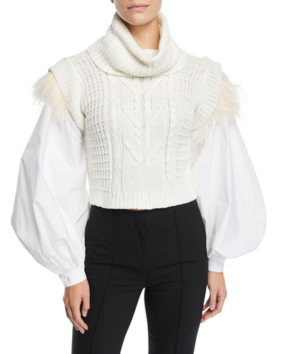 Ostrich-Feather Trim Puff-Sleeve Turtleneck Sweater