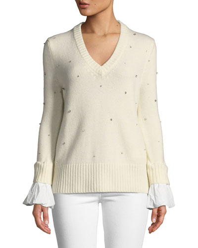 Cashmere Crystal V-Neck Flare-Sleeve Sweater