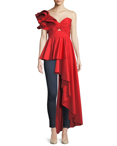 Paso Doble One-Shoulder Peplum Side-Drape Cotton Poplin Top