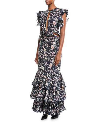 Dark Florals Ruffled Cap-Sleeve Slit-Front Floral-Print 3-Tier Hem Silk Georgette Gown