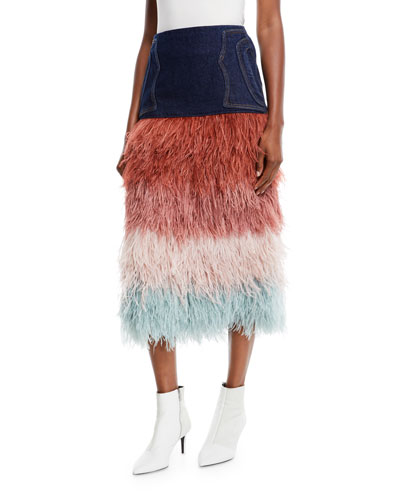A Visit To Fairyland Multicolor Tiered Ostrich-Feather & Denim Midi Skirt