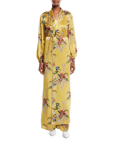 The Flower Queen Long-Sleeve Tie-Front Silk Satin Kimono Jacket