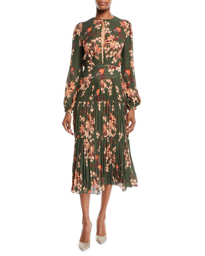 Counter Culture Blouson-Sleeve Floral-Print Silk Georgette Midi Dress w/ Pleated Skirt