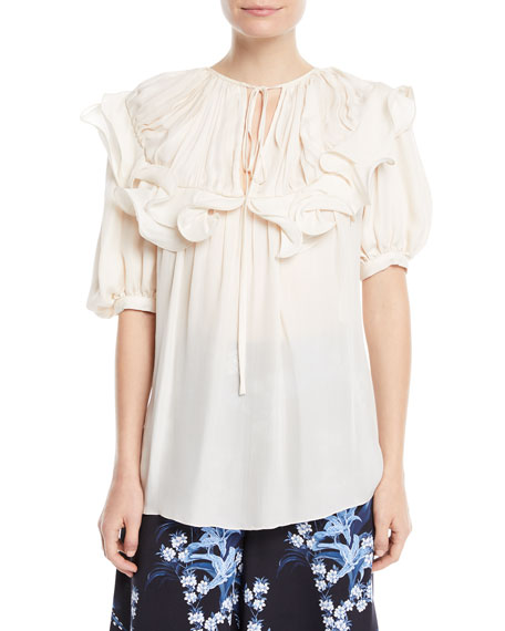 Johanna Ortiz Lady Of Candelaria Ruffled Bib Puff-Sleeve