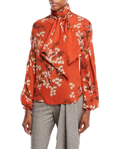 La Recoleta Tie-Neck Long-Sleeve Floral-Print Silk Georgette Blouse