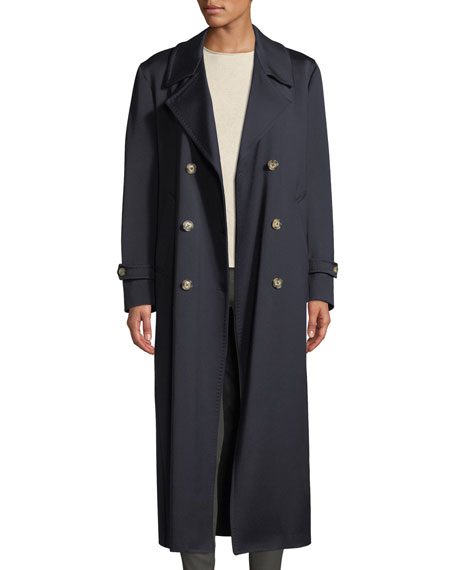 The Christie Double-Breasted Sateen Wool Trench Coat