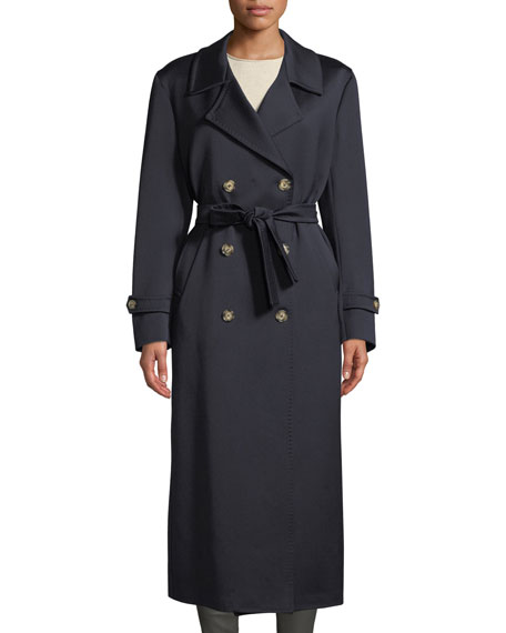 GIULIVA HERITAGE The Christie Double-Breasted Sateen Wool Trench Coat in Navy
