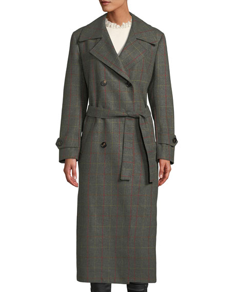 GIULIVA HERITAGE The Christie Double-Breasted Windowpane Check Wool-Cashmere Trench Coat in Forest