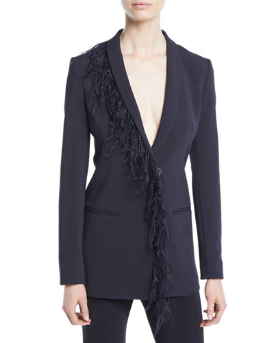 Deep-V Long-Sleeve Single-Breasted Cady Blazer with Feather Trim