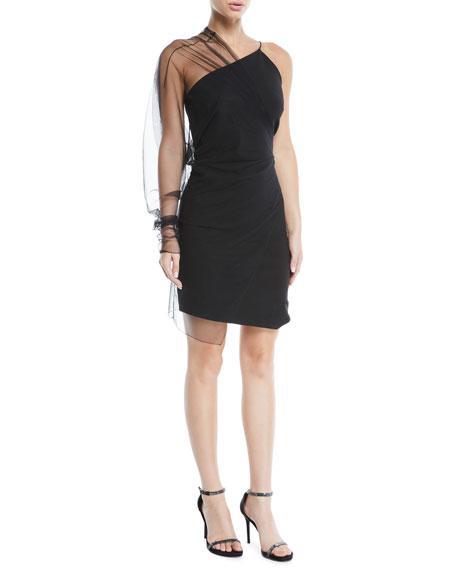 Sheer Tulle Overlay One-Sleeve Power Viscose Mini Dress in Black