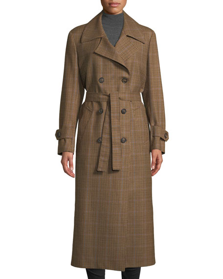 GIULIVA HERITAGE The Christie Double-Breasted Plaid Wool Trench Coat in Brown Pattern