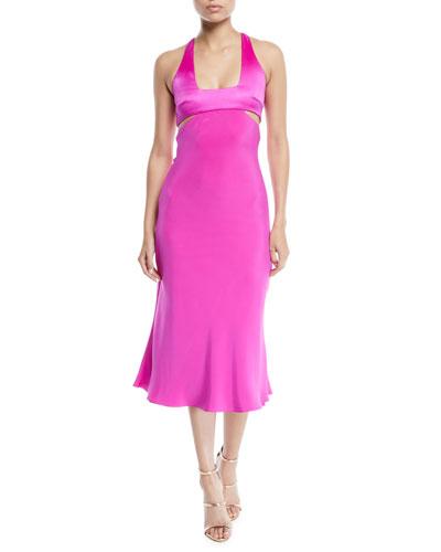 Square-Neck Sleeveless Cutout-Waist Silk Midi Dress