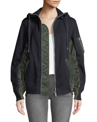 Zip-Front Nylon Combo Hooded Cotton Jacket