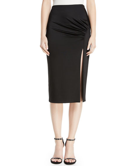 CUSHNIE High-Waist Fitted Jersey Pencil Dress w/ Front