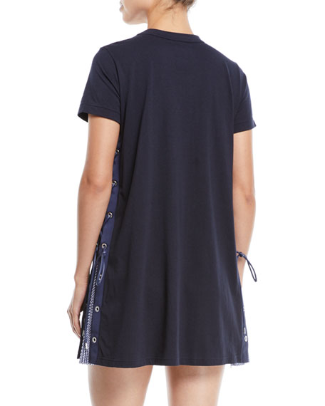 Short-Sleeve Crewneck Lace-Up Side Jersey Shirtdress