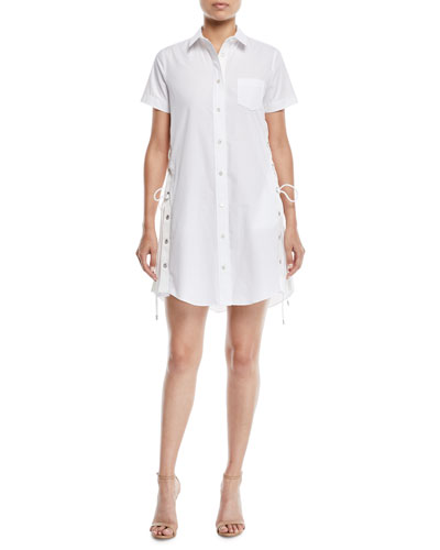 Short-Sleeve Button-Front Poplin Shirtdress w/ Lace-Up Side