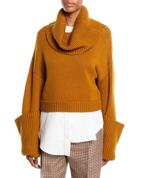MONSE Turtleneck Giant-Cuff Cropped Sweater W/ Shirttail Hem in Brown