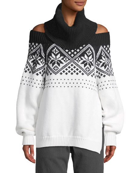 Monse Turtleneck Off The Shoulder Intarsia Knit Wool Sweater And