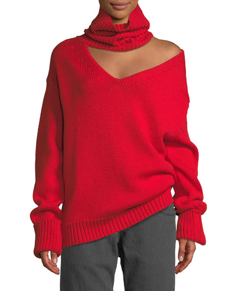 Turtleneck Cutout One-Shoulder Wool Knit Sweater, Red