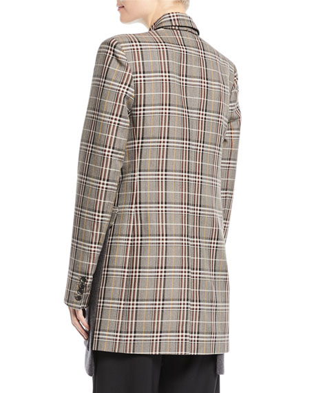 Two-Button Wool-Blend Plaid Jacket w/ Knit Combo