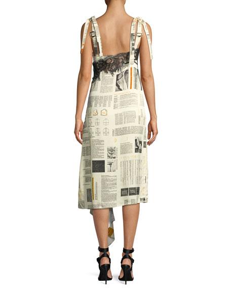 V-Neck Sleeveless Pattern Book-Print High-Slit Slip Dress w/ Lace Detail