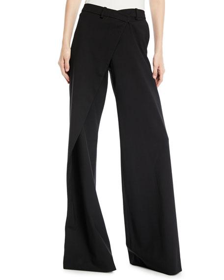 Asymmetric Draped Flare-Leg Wool Pants