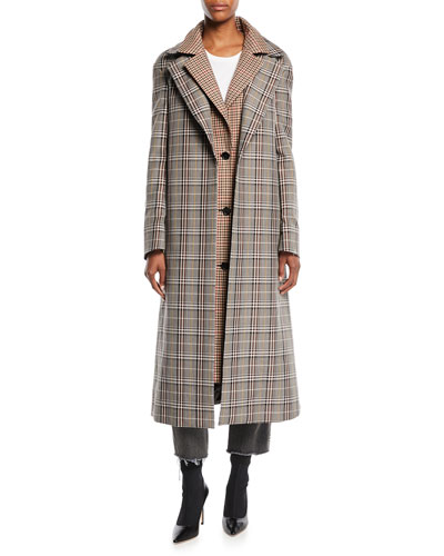 Plaid Combo Double-Collar Single-Breasted Long Wool-Blend Coat