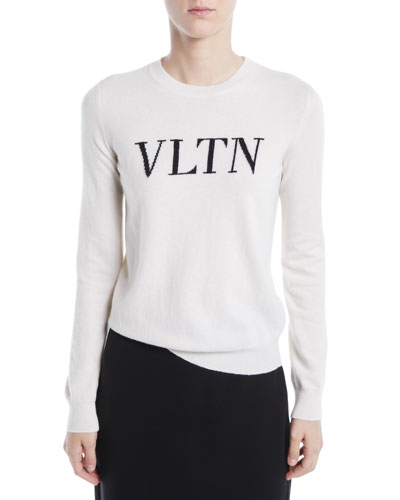 VLTN Crewneck Long-Sleeve Wool-Cashmere Sweater