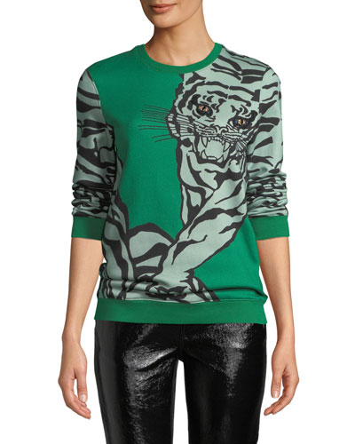 Embroidered Eyes Tiger-Print Crewneck Sweatshirt