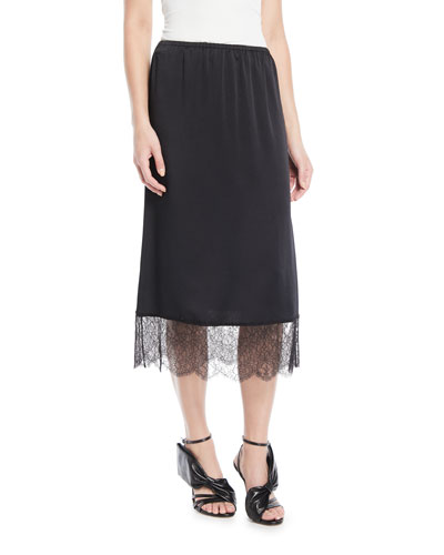 Hammered Satin A-Line Midi Skirt w/ Lace Trim