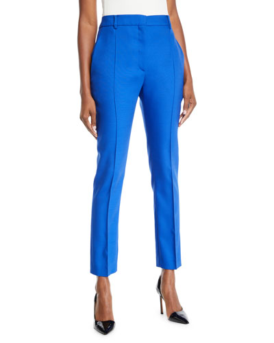 Front Pleat Mikado Skinny-Leg Pants