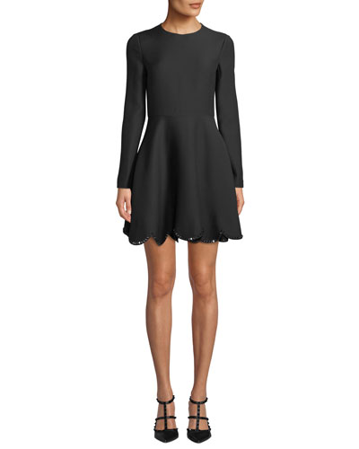 Long Sleeve Rockstud Scalloped-Hem Flare Dress